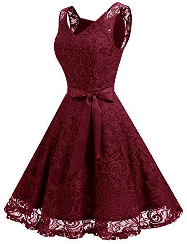 Cocktailkleid Arm Ohne Knielang Festliches Kleid Dressystar Weinrot Spitzen Spitzenkleid Brautjungfernkleid aus 7PnzBBOx
