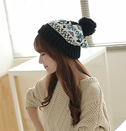 Dealzip Inc Fashion and Lovely Christmas Style Cute Women Lady Winter  Knitting Beanie Crochet Casual Ball 8890c9dca01