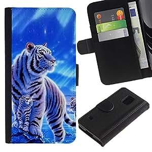 All Phone Most Case / Oferta Especial Cáscara Funda de cuero Monedero Cubierta de proteccion Caso / Wallet Case for Samsung Galaxy S5 V SM-G900 // Winter Snow Cub Tiger White Blue Nature
