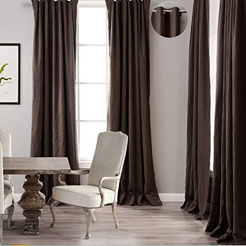 ChadMade Premium Double Layers Antique Bronze Grommet Eyelet Linen Cotton Mocha Curtain Drapery (1 Panel) in 50Wx96L (Maple Leaf Eyelet)
