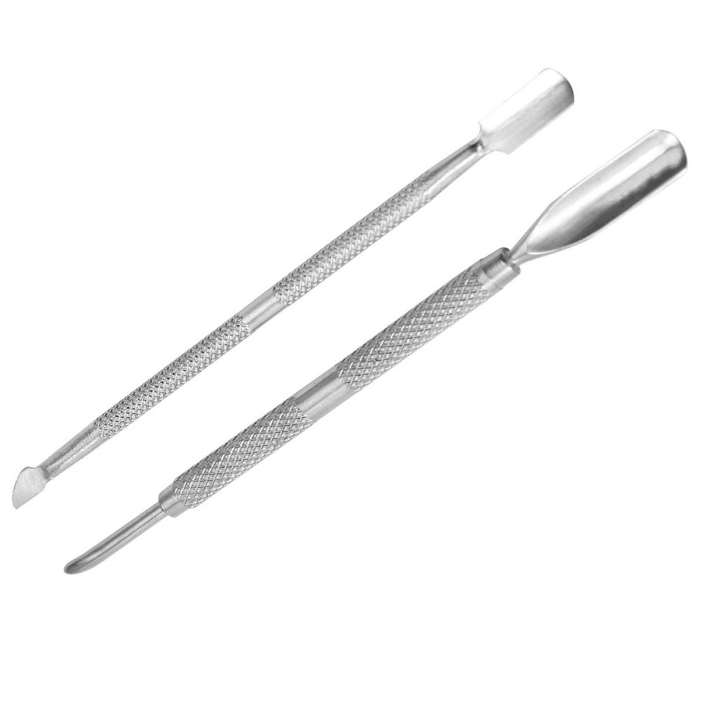 2 pcs Hand Nail Care Cuticle Pusher Remover Spoon Stainless Steel Manicures Tools Refaxi