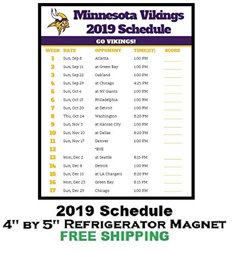 Minnesota Vikings Football Schedule 2019 Amazon.com: Minnesota Vikings NFL Football 2019 Schedule and