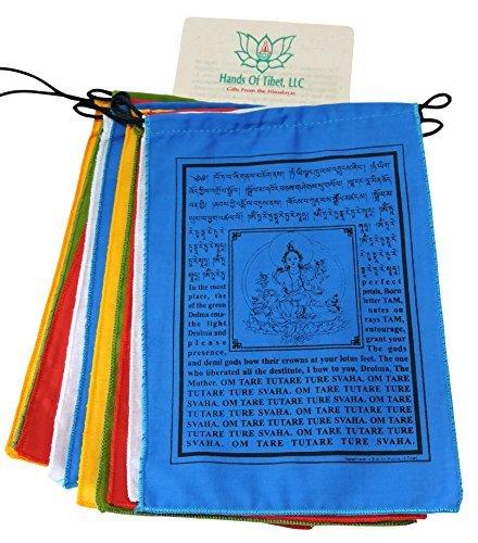 (Handmade Green Tara Prayer Flags Tibetan with English Translation 6x8)