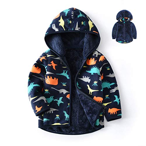 Feidoog Toddler Polar Fleece Jacket Hooded Baby Boys Girls Spring Autumn Long Sleeve Thick Warm Outerwear,Dark -