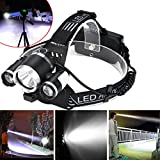 15000LM 3x XM-L T6 LED +2LED Rechargeable 18650 Headlamp Head Light Torch Black