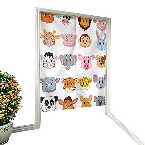 QianHe Cortina de lino de algodón para puerta, decoración de guardería, parque, banco, colinas, apartamentos, vigas...