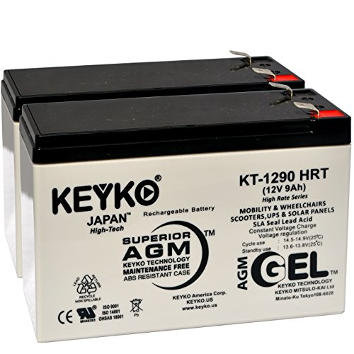 S BE550G Battery 12V 9Ah Fresh & Real - Deep Cycle AGM - SLA Designed for UPS Uninterruptible Power Suply Rechargeable Replacement Genuine KEYKO Terminal F2-2 Pack ()