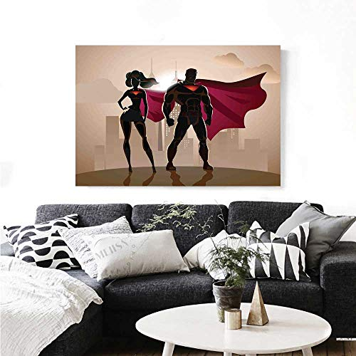 (Superhero Wall Art Canvas Prints Super Woman and Man Heroes in City Solving Crime Hot Couple in Costume Ready to Hang for Home Decorations Wall Decor 48
