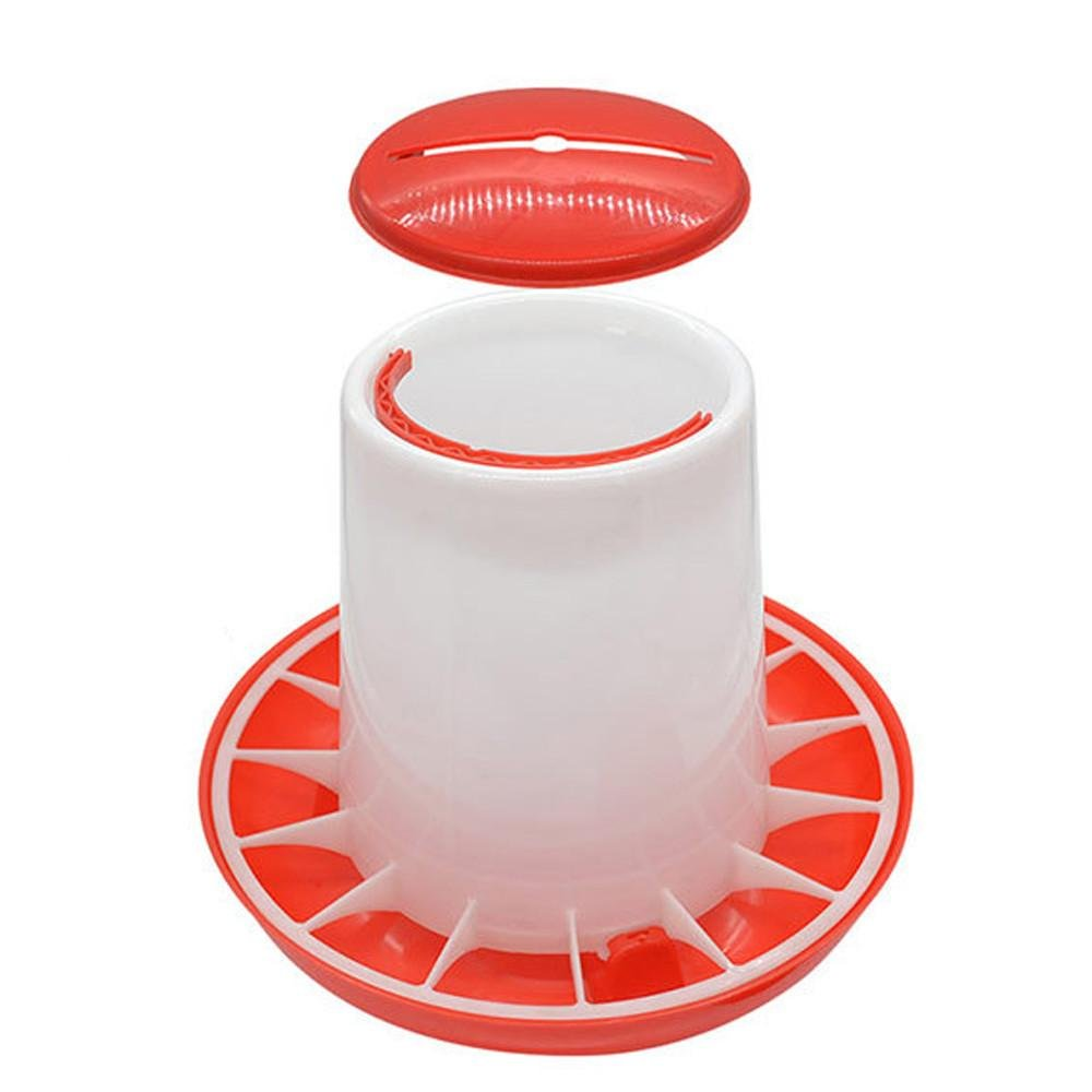 Amiley Poultry Feeder, 3.3 Pound Plastic Food Feeder Chicken Chick Hen Poultry Lid Handle (Red)