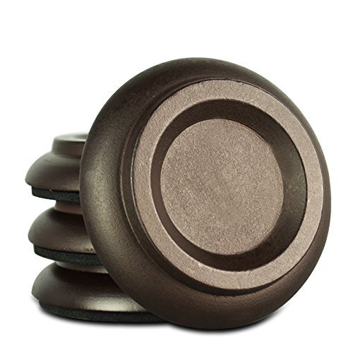 Soarun Hardwood Upright Piano Caster Cups with EVA Foam Piano Pad Furniture Round Load Bearing Pads Set of 4 (Brown Wood)