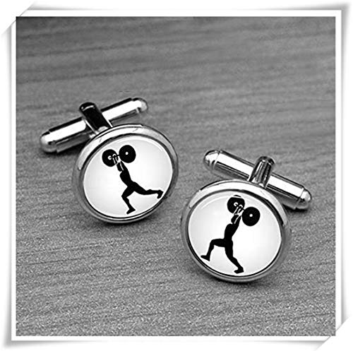 Weight Lifting Cufflinks, Sports Cuff Links. Olympic Games Jewelry, Championship,Silver Mens Sports Cuff Links, Gifts for Dad