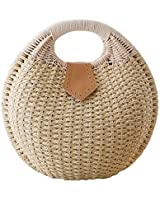 Cunada® Women Hand-woven Straw Shell Clutch Bags