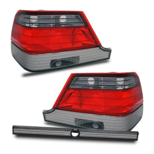 (SPPC Taillights Red/Smoke Lens Assembly for Mercedes Benz S Class W140 - (Pair) Driver Left and Passenger Right Side Replacement)