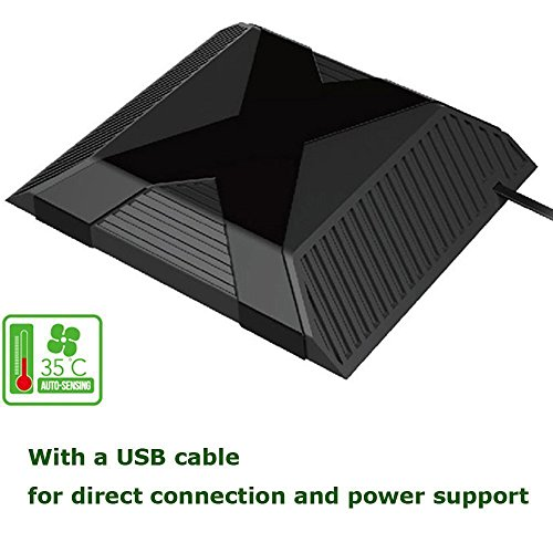 XFUNY(TM) Professional USB Powered 35? Auto-sensing Cooling Fan External Cooler Fan for Microsoft Xbox One Console, Black