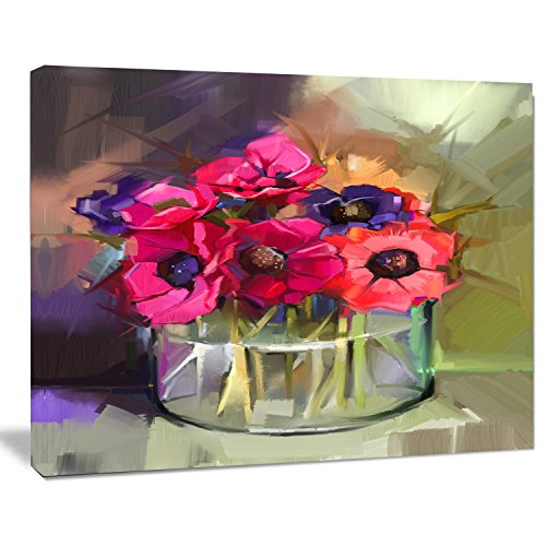 Designart Red Anonymous Flower Bouquet Wall Art Canvas