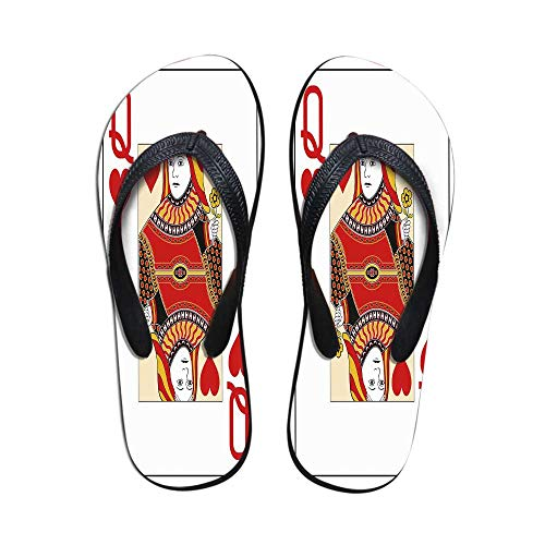 Queen Non Slip Flip Flops,Queen of Hearts Playing Card Casino Decor Gambling Game Poker Blackjack Deck for Shower Spa Party,US Size 7