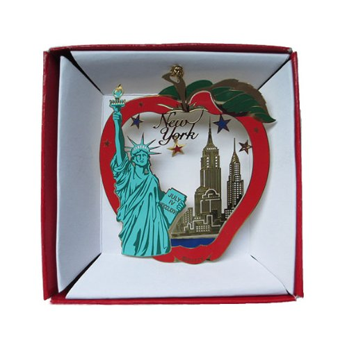 New York City Big Apple Color Brass ORNAMENT Statue of Liberty Empire State Building