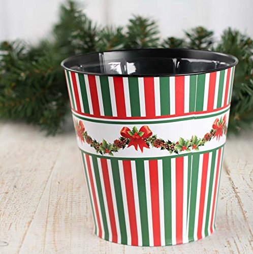 Holly Planter (Factory Direct Craft Metal Christmas Candy Stripe and Holly Bucket Planter With Liner for Home Decor and Displaying)