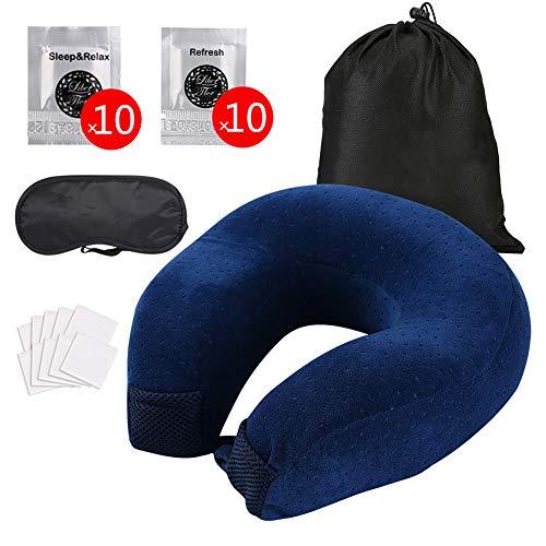 Florwander Essential Oil Travel Pillow, Memory Foam U-Shaped Neck Pillow, with 20 Essential Oils Pads Help Sleep or Refresh (Blue)