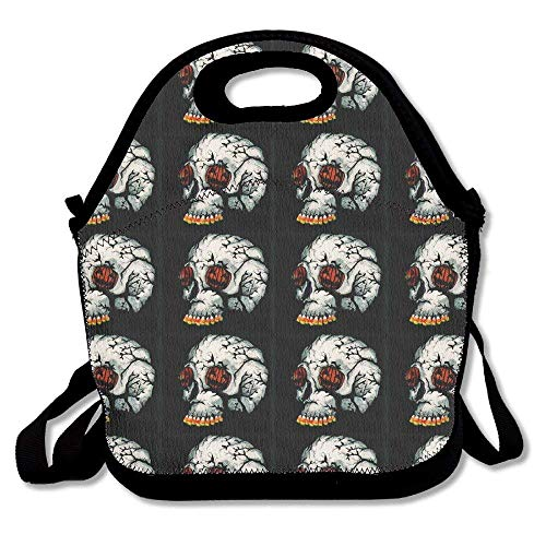 HOOAL Halloween Pumpkin Skull Lunch Bag Tote Handbag Lunchbox for School Work -