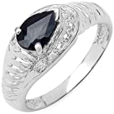 0.70 Carat Genuine Black Sapphire Sterling Silver Ring