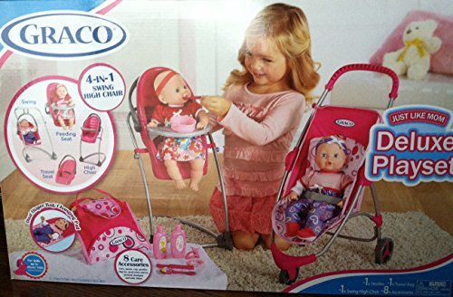 Graco Travel Doll - Graco 11 Pcs Just Like Mom Deluxe Playset Stroller; Swing High Chair Travel Bag + 8 Accessories