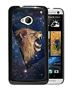 New Beautiful Custom Designed Cover Case For HTC ONE M7 With Outer Space Shouting Lion Phone Case