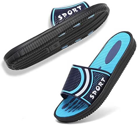SOVIKER Men Outdoor Slide Slippers Slip on Shower Sandals Quick Dry Bedroom Indoor Beach Gym Bath Shoes