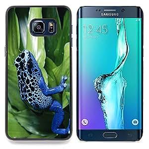 """Qstar Arte & diseño plástico duro Fundas Cover Cubre Hard Case Cover para Samsung Galaxy S6 Edge Plus / S6 Edge+ G928 (Rana de la selva fría azul de neón"""")"""