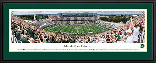 Colorado State Rams Football - 44x18-inch Double Mat, Deluxe Framed Picture by Blakeway Panoramas