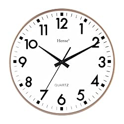 HENSE Concise Modern Minimalist Wall Clock 13 Inches Non Ticking Silent Quiet Sweep Second Decorative Vintage Wall Clock HW55 (Golden)