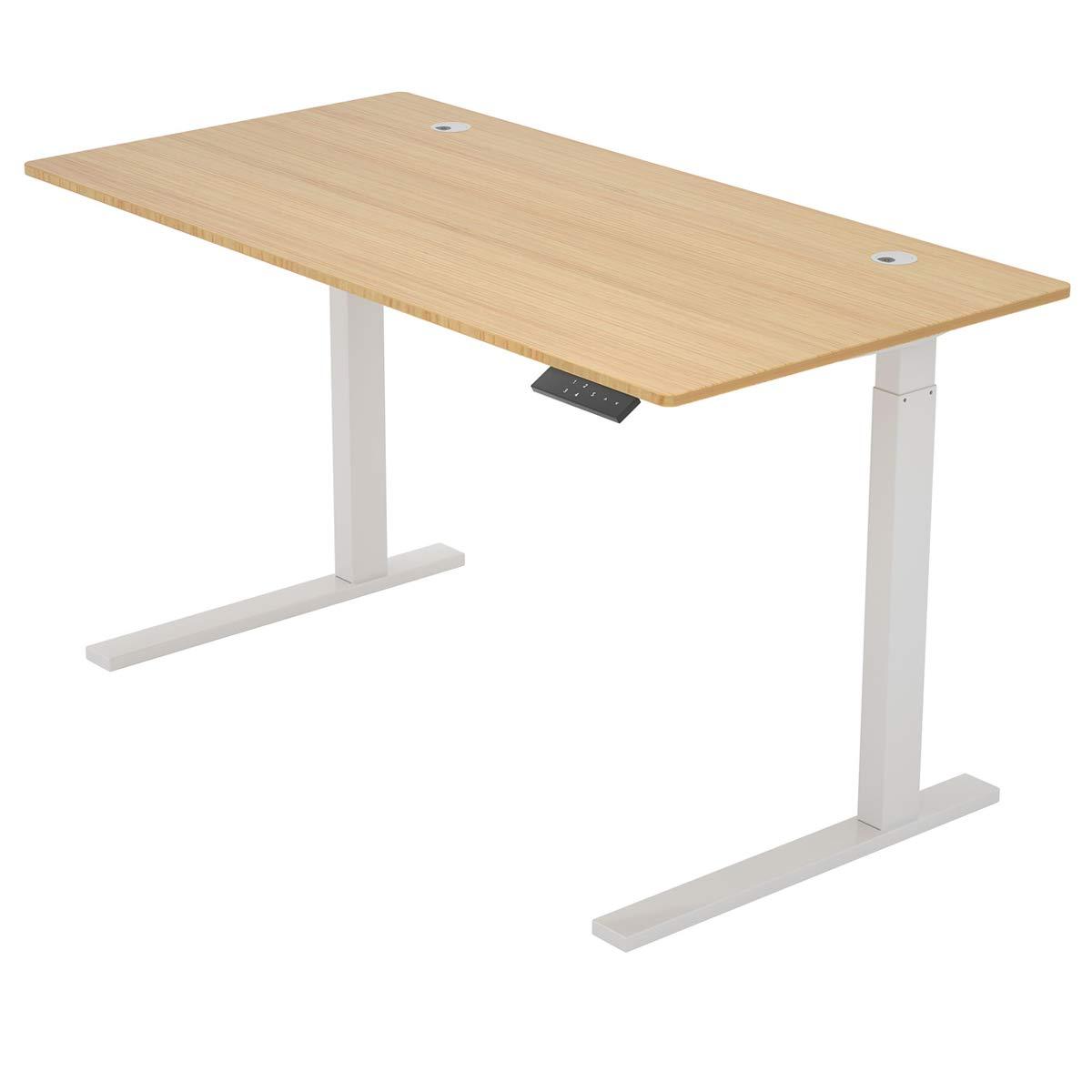 "ZHU CHUANG Height Adjustable Desk Electric Standing Desk Stand up Desk Home Office Desk Dual Motor Natural Color 100% Solid Bamboo (72"" Rectangle, Desktop and Frame)"