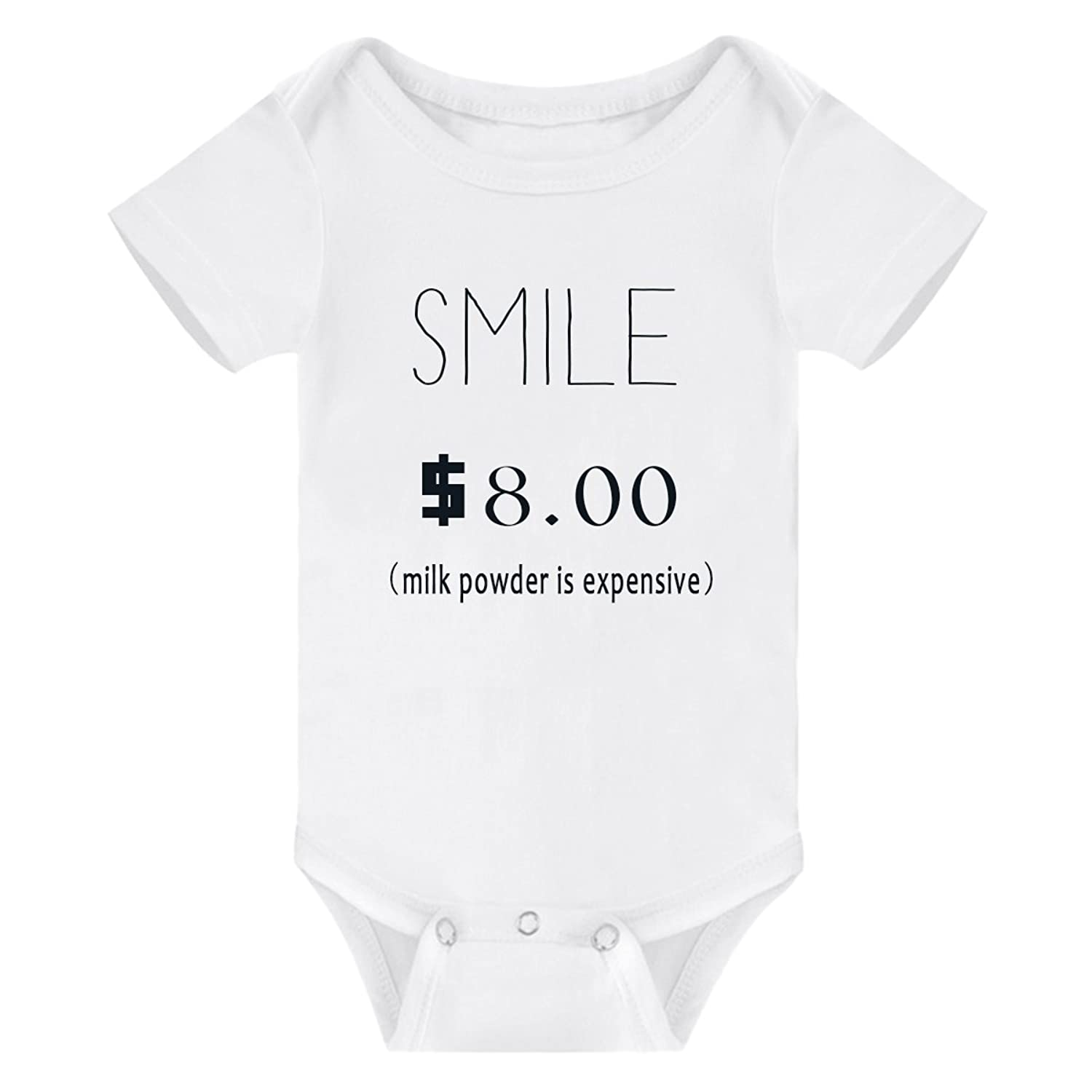 e7a614a03 Amberetech Newborn Baby Boy Girl Bodysuit One Smile Worth 8Dollars Print  Funny Top Onesies Clothes