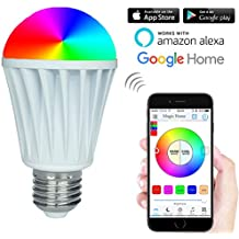 RGBW Warm White 7W Smart WiFi LED Light Bulb Work With Amazon Alexa Google Home Assistant,AC 85-265 V Smartphone APP Magic Home WiFi Controlled Dimmable Multicolored Color Changing 60W Equivalent