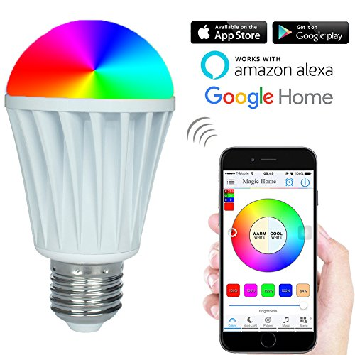 RGBW Warm White 7W Smart WiFi LED Light Bulb Work With Amazon Alexa Google Home Assistant,AC 85-265 V Smartphone APP Magic Home WiFi Controlled Dimmable Multicolored Color Changing 60W Equivalent - Light Signed