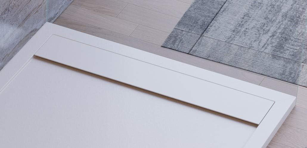 effet pierre ardoise luxury mod/èle S/éville Receveur de douche blanc slim 3 cm gelcoat blanc design moderne en marbre et r/ésine
