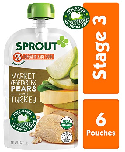 Sprout Organic Stage 3 Baby Food Pouches, Market Vegetables Pears w/ Turkey, 4 Ounce (Pack of 6)