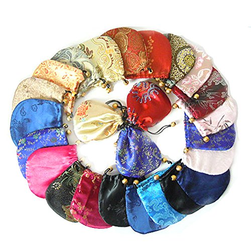 Mixed Silk Purse Drawstring Bag Gift Bags Jewelry Pouch Packing 4''x4'' send by random wholesale 50 Pcs by SR BGSJ