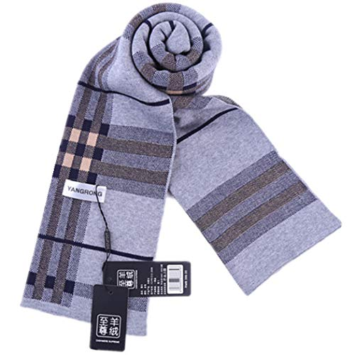 AXIANQI and Winter Men's Cashmere Scarf Knit Thick Warm Lattice Casual Collar Spot 175cm (Color : Gray)
