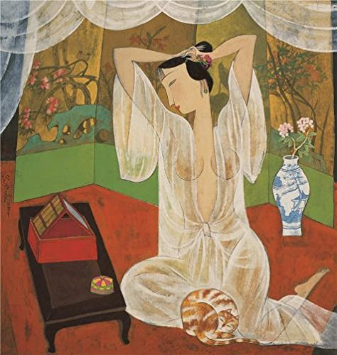 のポリエステルキャンバスの油絵` hu Yongkai、女性Making Up、21th Century」、サイズ: 10x 11インチ/ 25x 27cm、このReproductionsアート装飾プリントキャンバスは、フィットのリビングルームアートワークとホーム装飾、ギフトの商品画像