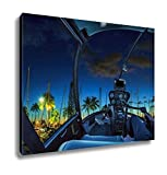 Ashley Canvas, Helicopter Cockpit Flies In Ala Wai Harbor Honolulu By Night Oahu Hawaii With, Home Decoration Office, Ready to Hang, 20x25, AG6402412