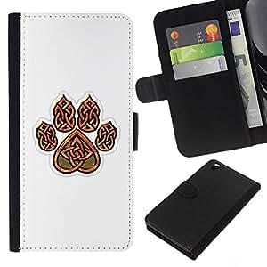 EJOY---La carpeta del tirón la caja de cuero de alta calidad de la PU Caso protector / HTC DESIRE 816 / --Garra de oso de Brown White Heart Patrón
