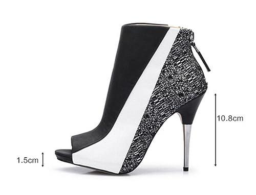 2aa6309fd3ba katypeny Women s Zipper Closed Open Toe Cover Heel Ankle Sandals  White Black PU Cloth