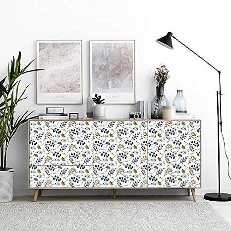 Flores Elegantes Mesa Papel Adhesivo para Muebles del Hogar y Cocina Vinilos para Muebles 45x200cm Papel Pintado de Vinilo Autoadhesivo Impermeable para Armario etc