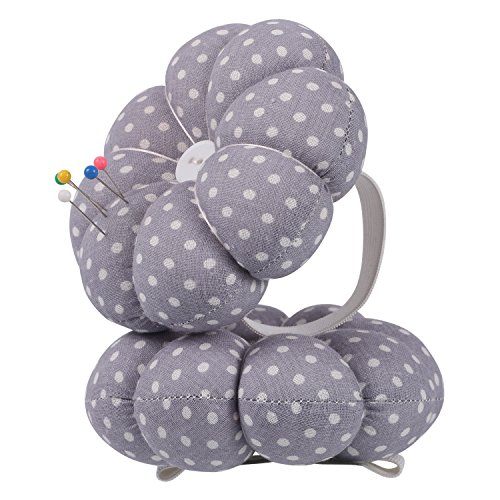 NEOVIVA Pincushions for Sewing with Wristband, Cute Wrist Pin Cushion for Daily Needlework, Style Pumpkin, Pack of 2, Polka Dots Lavender Fog