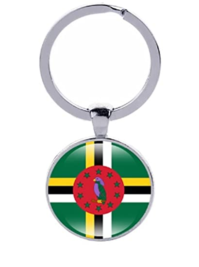 National Country Flag Keychain Key Chain Country Football Soccer Team  Keychain Key Chain Key Ring Key Holder (Dominica)