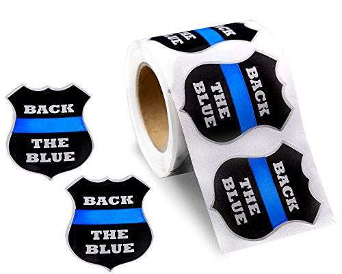 Police Support Stickers - Roll of 250 Back The Blue Badge Stickers (250 Stickers) by Fundraising For A Cause