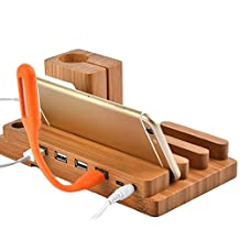 Charging Station for Multiple Devices, Bamboo Wood USB Organizer, Cell Phone Stands Desk Stand Charger for iPhone 7/6s/6/5s & Apple Watch