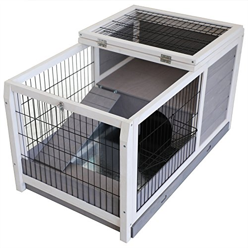 "51yXpl%2BGlvL - Petsfit Wooden Rabbit Bunny Hutch/Guinea Pigs Cage for Indoor Use 35.4""Lx23.5""Wx19""H Gray"