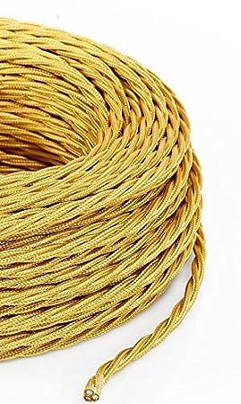 - Gold Textilkabel f/ür Lampe 3x1,50mm/² Stoffkabel 3-adrig Made in Italy 10 Meter